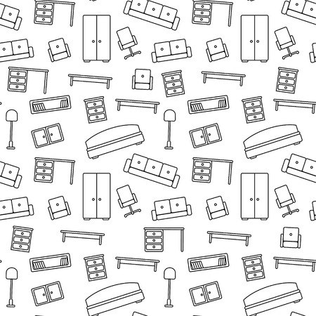 Seamless pattern of furniture  Beautiful background  Vector illustration  Endless texture can be used for printing onto fabric and paper or scrap booking  Vectores