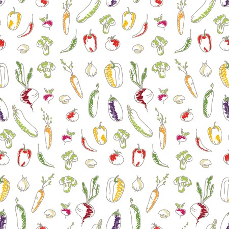 Seamless kitchen background of vegetables  Beautiful background  Vector illustration  Endless texture can be used for printing onto fabric and paper or scrap booking  Vector