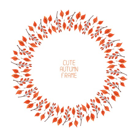 Vector watercolor autumn frame  Illustration  Beautiful background  Wreath made of hand drawn leaves  Vintage for invitations  Endless texture can be used for printing or scrap booking  Vector