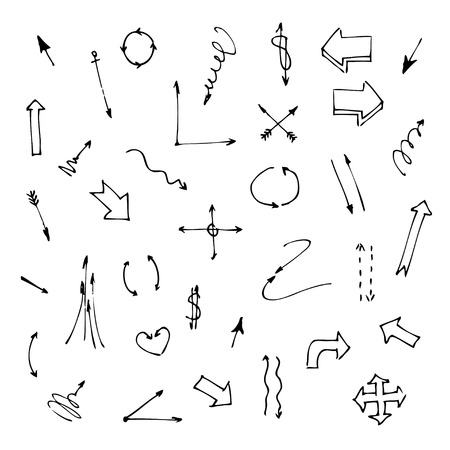 Set of various graphic arrows on a white background  Hand drawn doodles  Sketch  Vector illustration  Vector
