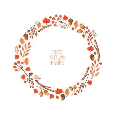 Vector watercolor autumn frame  Illustration  Beautiful background  Wreath made of hand drawn leaves  Vintage for invitations  Endless texture can be used for printing or scrap booking