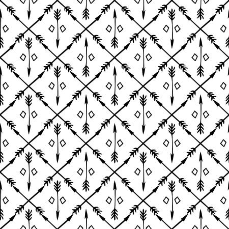 Ethnic seamless pattern with arrows  Hand drawn doodles  Beautiful background  Vector illustration  Endless texture can be used for printing onto fabric and paper or scrap booking