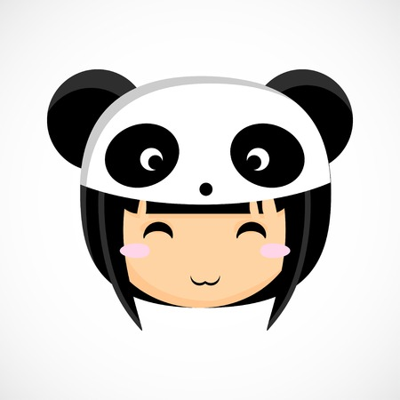little people: Face of a little cute girl in costume panda  Illustration  Beautiful background   Illustration