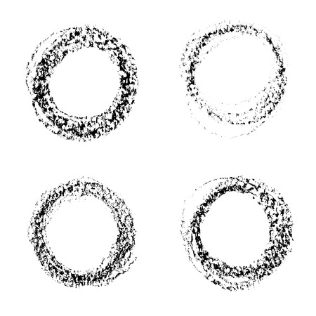 Set of vector round grunge frames  Hand drawn design elements  Abstract ink shapes  Vector
