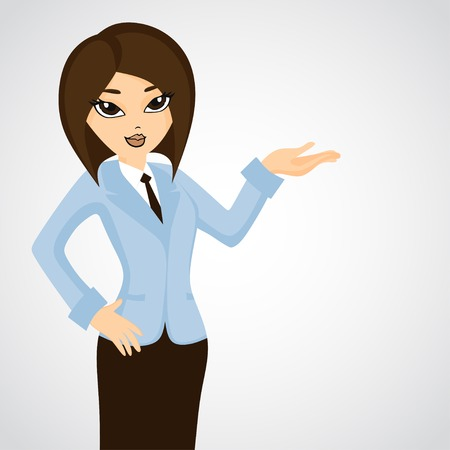 caricature woman: Cute businesswoman showing something  Funny cartoon character  Vector illustration