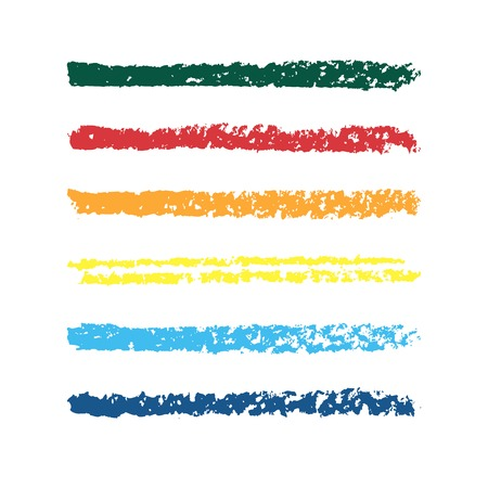 Set of colored pencil strips  Set of vector colorful brushes  Abstract hand drawn strokes  Vector illustration   イラスト・ベクター素材
