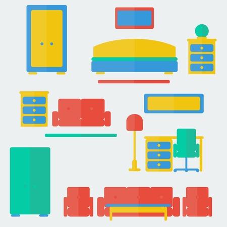 hotel bedroom: Furniture set  Trendy flat style  Vector illustration  Background Illustration
