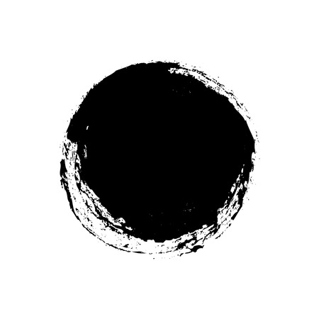 Black grungy vector abstract hand-painted circle  Vector illustration  Background Vector