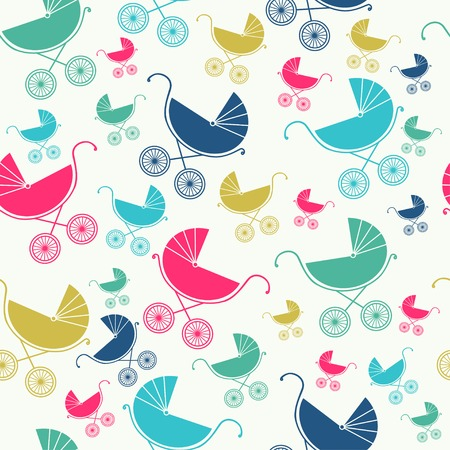 Seamless pattern of baby strollers  Vector illustration  Background Vector