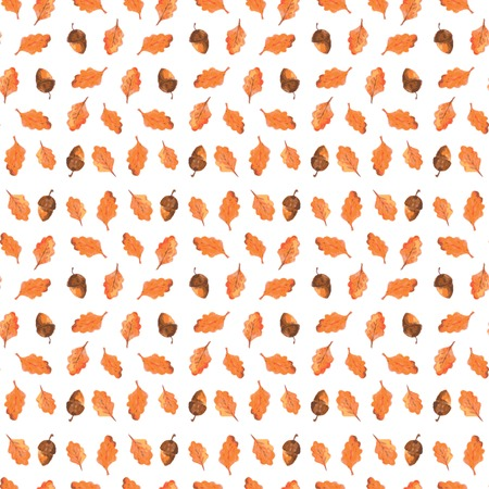 Colorful autumn seamless pattern made of hand drawn acorns  Beautiful watercolor background  Vector illustration  Endless texture can be used for printing onto fabric and paper or scrap booking  Vector