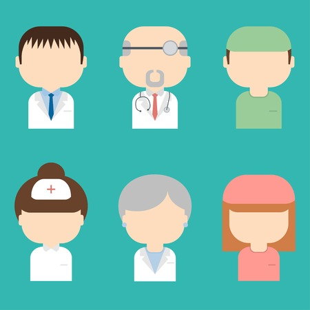 Set of medical characters icons Trendy flat style  Doctors Vector
