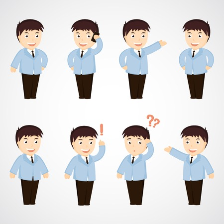 businessman  set of funny cartoon office worker in various  poses Vector