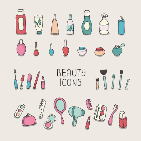 Set of vintage cosmetics elements and beauty products icons  Makeup  Beautiful vector illustration    Illustration