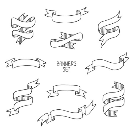 Vintage ribbon banners, hand drawn set  for design  Vector illustration
