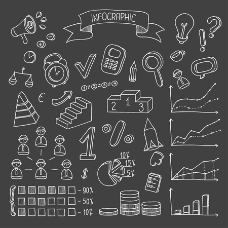 Business and finance hand drawn infographic design elements  Doodle vector set  Vector