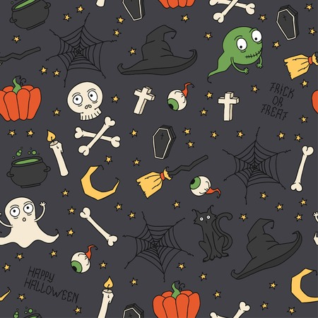 hat trick: Felice Halloween. Seamless pattern con zucche, teschi, gatti, ragnatela, fantasmi, mostri, streghe cappello. Dolcetto o scherzetto. Illustrazione vettoriale. Sfondo.
