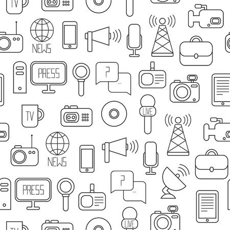 Seamless pattern of of flat colorful vector journalism icons. Mass media. Communication. Illustration consists of computer, news, reporter, camera, microphone, radio. Infographics design web elements. Background. Vector