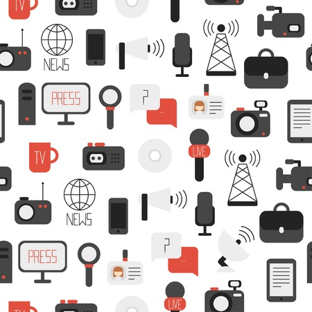 news van: Seamless pattern of of flat colorful vector journalism icons. Mass media. Communication. Illustration consists of computer, news, reporter, camera, microphone, radio. Infographics design web elements. Background.