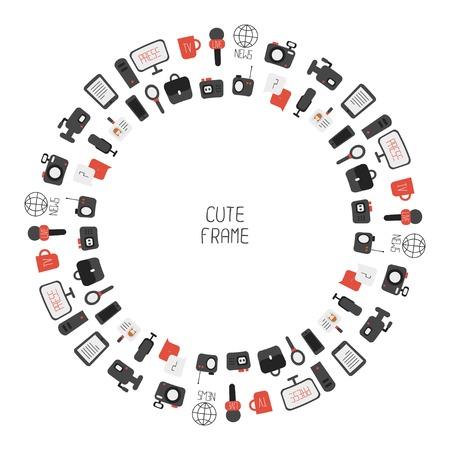 평면 다채로운 벡터 저널리즘 아이콘의 프레임. 매스 미디어. 통신. 그림 컴퓨터, 뉴스, 기자, 카메라, 마이크, 라디오로 구성되어 있습니다. 인포 그래 일러스트