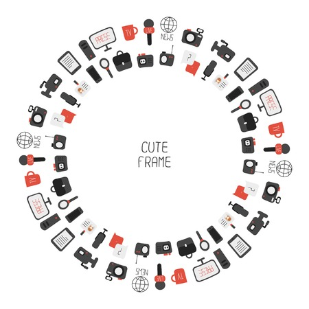 Frame of of flat colorful vector journalism icons. Mass media. Communication. Illustration consists of computer, news, reporter, camera, microphone, radio. Infographics design web elements. Vector