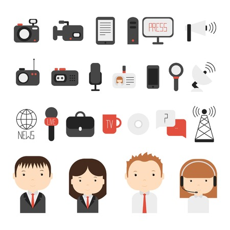 news van: Set of flat colorful vector journalism icons. Mass media. Communication. Illustration consists of computer, news, reporter, camera, microphone, radio. Infographics design web elements.
