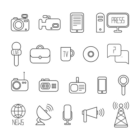 news van: Set of flat colorful vector journalism icons. Mass media. Communication. Illustration consists of computer, news, camera, microphone, radio. Infographics design web elements.