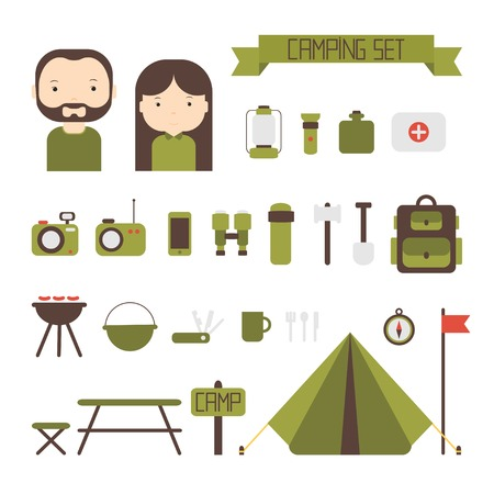 Set of flat colorful vector camping equipment symbols and icons.  Vector