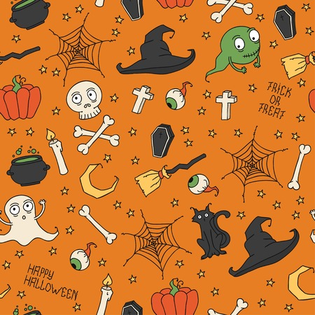 hat trick: Happy Halloween. Seamless pattern con zucche, teschi, gatti, ragnatela, fantasmi, mostri, streghe cappello. Dolcetto o scherzetto. Illustrazione vettoriale. Sfondo. Vettoriali