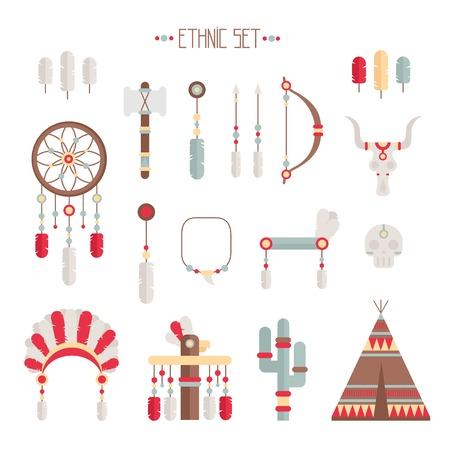 indian chief headdress: Vector colorato set etnico con catcher sogno, piume, frecce e american indian chief copricapo in stile nativo. Elementi decorativi. Tribal nativo americano insieme di simboli.