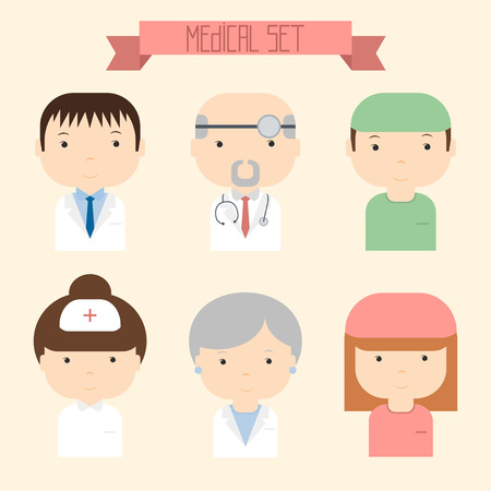 Set of flat colorful vector doctor icons. Medical people. Vector illustration.