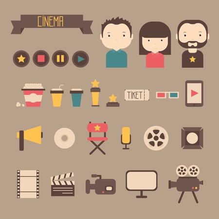 映画デザイン要素やフラットなスタイルの映画アイコンのセットです。ベクトル イラスト。