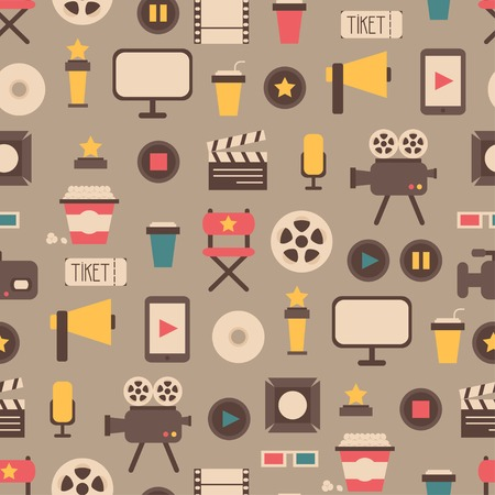Seamless pattern of flat colorful movie design elements and cinema icons in flat style. Vector illustration. Background. Иллюстрация