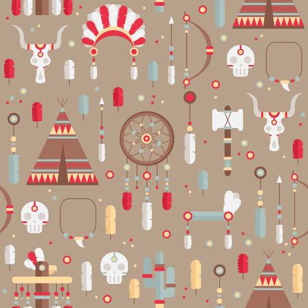 indian chief headdress: Seamless pattern di vector set etnico colorato con collettore di sogno, piume, frecce e american indian chief copricapo in stile nativo. Elementi decorativi. Tribal nativo americano insieme di simboli. Vettoriali