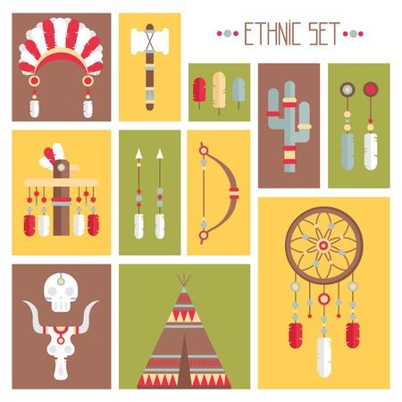 indian chief headdress: Vector colorato set etnico con collettore di sogno, le piume, le frecce e capo indiano americano copricapo in stile nativo. Elementi decorativi. Tribal nativo americano insieme di simboli.