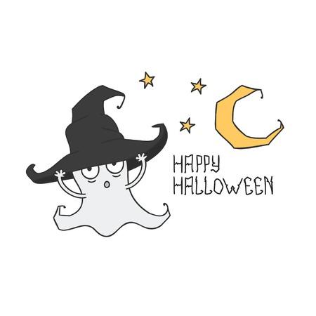 hat trick: Happy Halloween. Ghost in cappello della strega. Dolcetto o scherzetto. illustrazione. Sfondo.