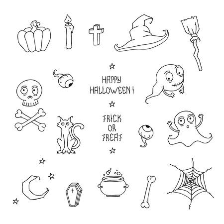 hat trick: Happy Halloween. Set con le zucche, teschi, gatti, ragnatela, fantasmi, mostri, streghe cappello. Dolcetto o scherzetto.