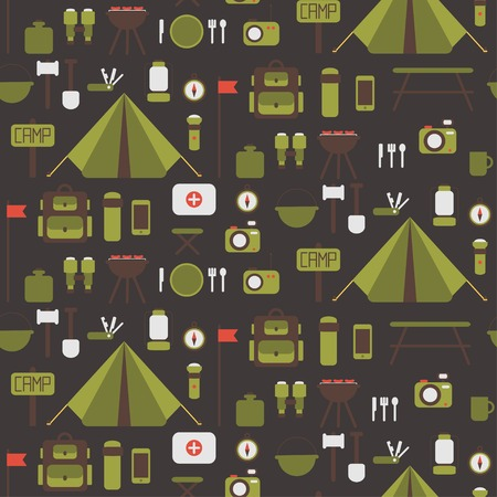 Seamless pattern of flat colorful camping equipment symbols and icons.  Vector