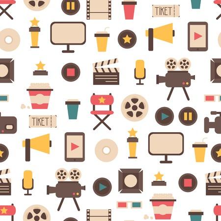 シームレス パターンの平らなカラフルな映画デザイン要素やフラットなスタイルの映画アイコン。イラスト。背景。 写真素材 - 31643352