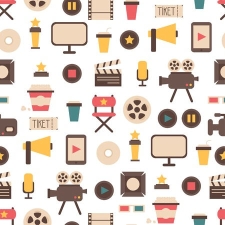 Seamless pattern of flat colorful movie design elements and cinema icons in flat style. illustration. Background.