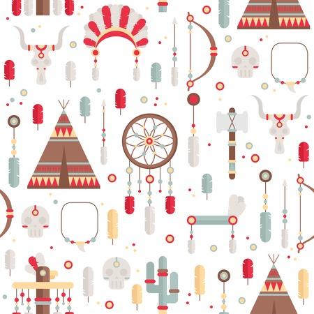 indian chief headdress: Seamless pattern di set etnico colorato con collettore di sogno, piume, frecce e american indian chief copricapo in stile nativo. Elementi decorativi. Tribal nativo americano insieme di simboli.