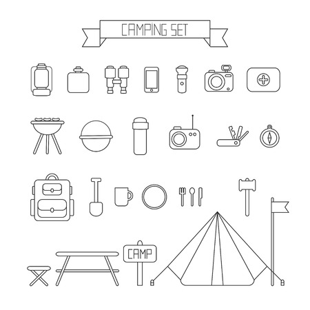 camping equipment: Set of flat colorful camping equipment symbols and icons.