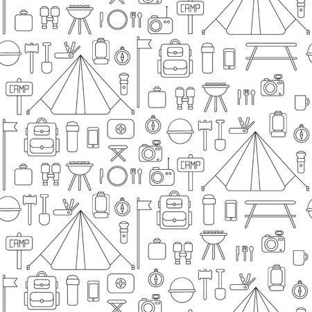 camping equipment: Seamless pattern of flat colorful camping equipment symbols and icons.