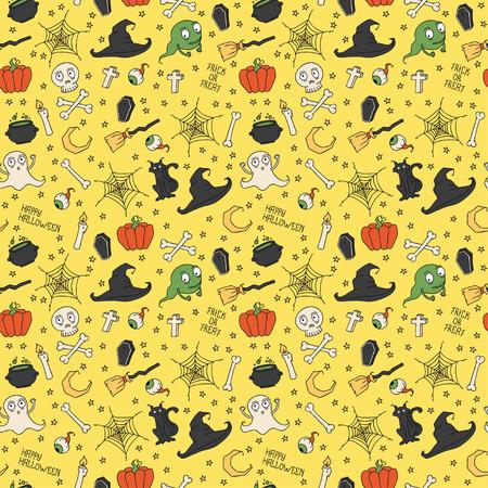 hat trick: Happy Halloween. Seamless pattern con zucche, teschi, gatti, ragnatela, fantasmi, mostri, streghe cappello. Dolcetto o scherzetto. illustrazione. Sfondo.