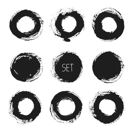 Set of vector round grunge frames. Hand drawn design elements. Abstract ink shapes  Vector