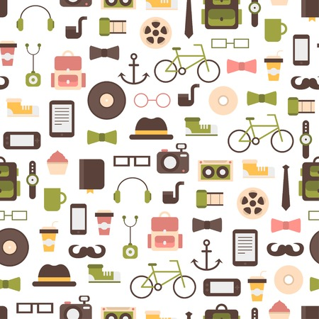 Seamless pattern of hipster colorful style elements and icons set for retro design. Infographic concept background. Illustration in flat style.