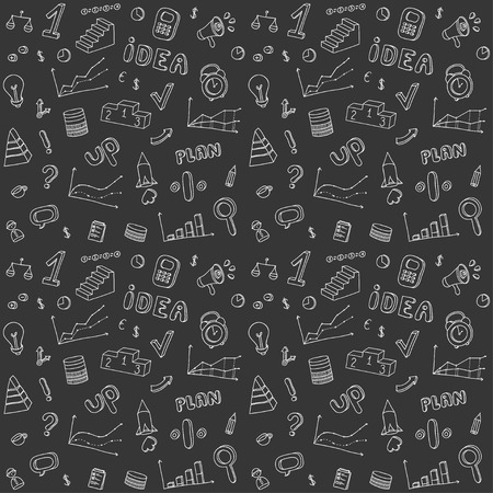 Seamless pattern of  business and finance hand drawn infographic design elements.  Vector