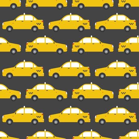 黄色のタクシー車のシームレスなパターン。
