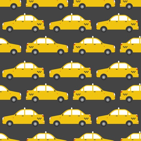 Seamless pattern of yellow taxi car.  Illustration