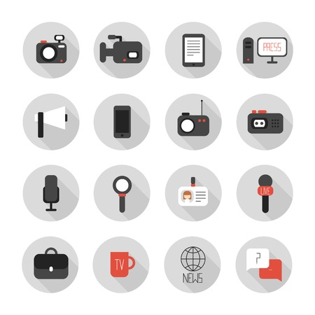 Set of flat colorful journalism icons.  Vector