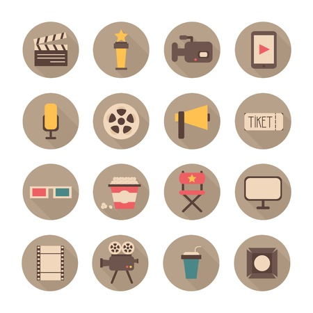 Set of movie design elements and cinema icons in flat style.  Иллюстрация
